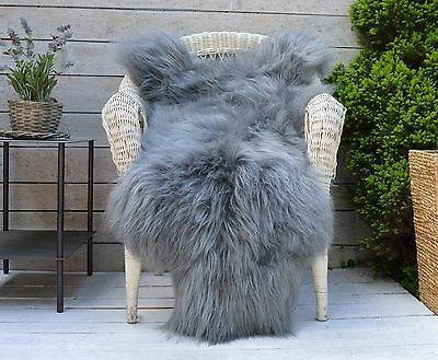 Luxury Sheepskin Rug, Throw, Blanket, Dyed Color Grey Plus Snow top, Size XL