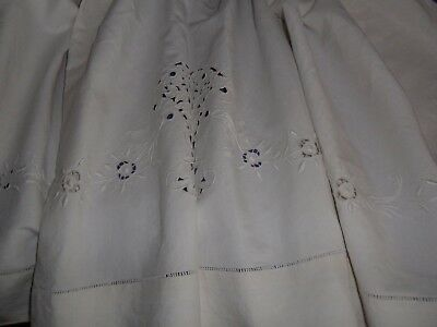 Antique French sheet.Metis,linen and cotton.Hand embroidered.Never used.