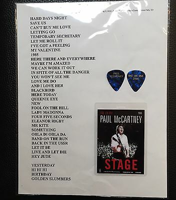 PAUL McCARTNEY - 2016 ONE ON ONE TOUR GUITAR PICK, BACKSTAGE PASS & SETLIST-RARE