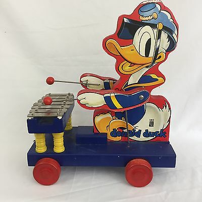 DISNEY Donald Duck WORKING Xylophone Wood Pull Toy Reproduction by Fisher Price