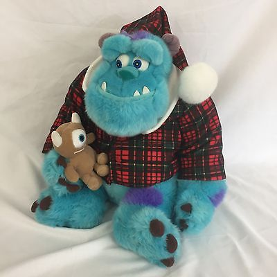 """MONSTERS INC Sulley in Pajamas Plush """"Holiday Morning"""" Blue 12"""" Disney Store"""