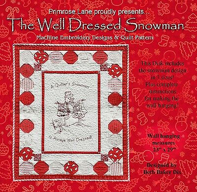 WELL DRESSED SNOWMAN MACHINE EMBROIDERY CD, from Primrose Lane, *NEW*