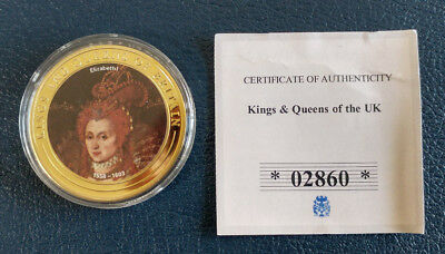 Kings and Queens of the UK / CU Gold Plated with Colour Sticker Proof Coin / COA
