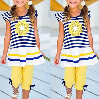 2Pcs Girls Kids Clothes Striped Tops T-Shirts + Pants Summer Casual Outfits Sets