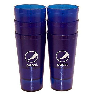 Pepsi Cola Restaurant Royal Blue Globe Plastic Tumblers Cups 24oz