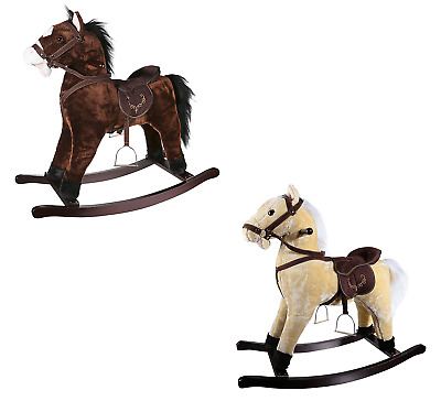 Kids Rocking Horse Wood Plush Wooden Riding Toy With Sound Children's Xmas Gift