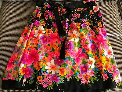Vintage Hippy Wrap Skirt Mod Psychedelic Hawaii 60's MED / LRG AWESOME
