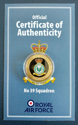 RAF - No 39 Squadron / Royal Air Force Commemorative 24ct Gold Plated Coin / COA