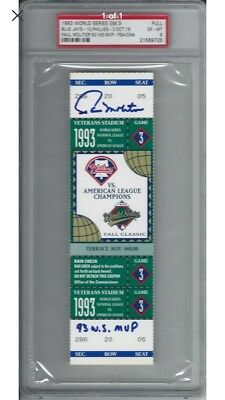 1993 Game 3 World Series ticket Blue Jays vs Phillies. Signed!