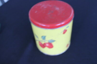 vintage prairie farhouse kitchen yellow metal tin canister apples red lid