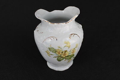 vintage white ironstone small vase toothbrush holder yellow flowers
