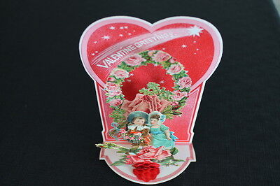 vintage Victorian Honeycomb Valentine Greeting Stand up Card red tissue