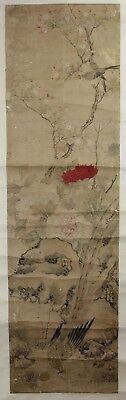 Old Chinese Scroll Ink On Paper Painting Of Birds In Landscape