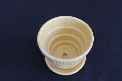 """vintage small 3"""" yellow checkerboard McCoy Pottery plant pot violet planter"""