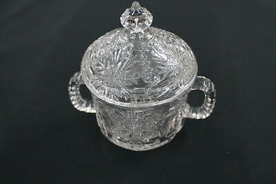 vintage cut pressed glass crystal glass cream & covered sugar bowl