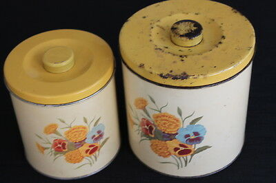 vintage pair yellow metal tin kitchen canisters pansies