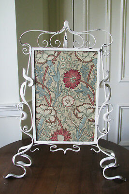 Rare Shabby Chic Art Nouveau Wrought Iron Fire Screen with William Morris style
