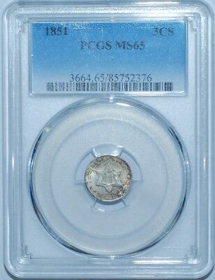 1851 PCGS MS65 3CS Three Cent Silver