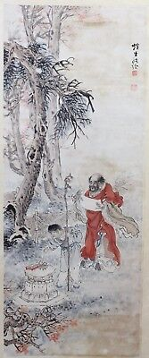 Old Chinese Scroll Watercolor On Paper Painting Of A Man And A Boy