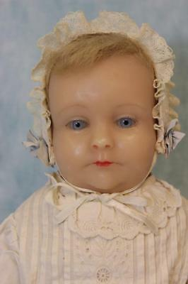 """Beautiful 20"""" Poured Wax doll Blue glass eyes 1960's Nice Artist Doll"""