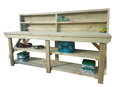 Treated Wooden Work Bench 3ft to 10ft - Garage, Workshop Heavy Duty Work Table