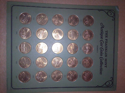 Vintage 1968 Franklin Mint Antique Car Coin Collection Series 1 with 25 Coins