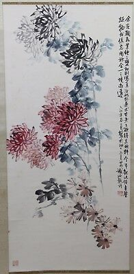 Old Chinese Scroll Watercolor On Paper Painting Of Chrysanthemums And Flower