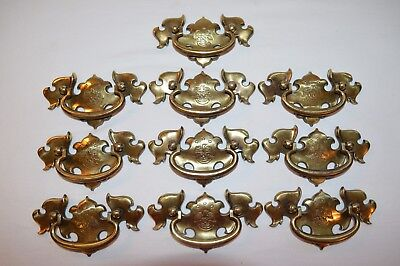 Set of 10 Vtg Brass Gilt Drawer Handle Pulls Patriotic Eagle 3-Stars Logo Emblem