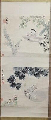 Old Chinese Scroll Watercolor On Paper Painting Of Two Beauties