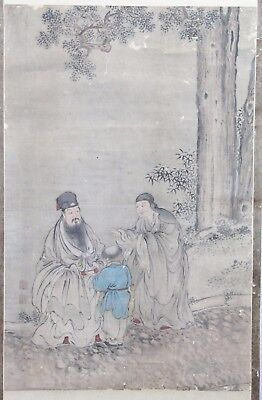 Old Chinese Scroll Watercolor On Paper Painting Of Two Man And A Child