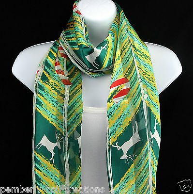 Candy Cane Reindeer Womens Scarf Christmas Xmas Holiday Green Gift Scarves New