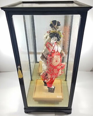 Japanese Old Oiran Geisha - Large Nishi Doll w/ Glass Case - Excellent Condition