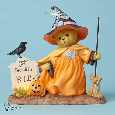 Cherished Teddies Delwyn Lighted Halloween Witch Bear with Broom 4053447
