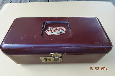 """Vintage """"The Foster Line"""" New York Metal Cash Box Utility Storage Tackle VGC"""