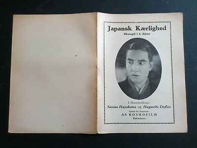 "Danish silent movie program.""Japansk Kærlighed"" Sessue Hayakawa.Huguette Duflos."