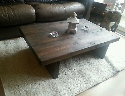 CHUNKY RUSTIC RECLAIMED STYLE COFFEE TABLE HANDMADE SOLID WOOD dark oak stain