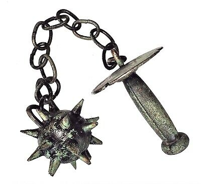 Metal Morningstar Medieval War Weapon Battle Spiked Ball on Chain