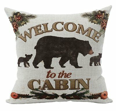 Retro Vintage Background Wildlife Black Bear Family Welcome To The Cabin Cotton