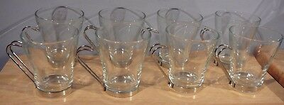 8 Glass & Chrome Coffee Tea Cups 8 oz Italy Cappuccino