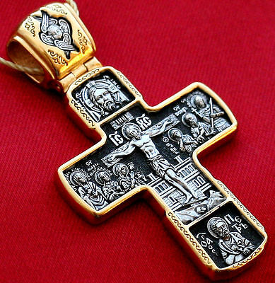 Exclusive Big Russian Orthodox Cross, Silver 925+.999 Gold Plating. 24K. Prayer