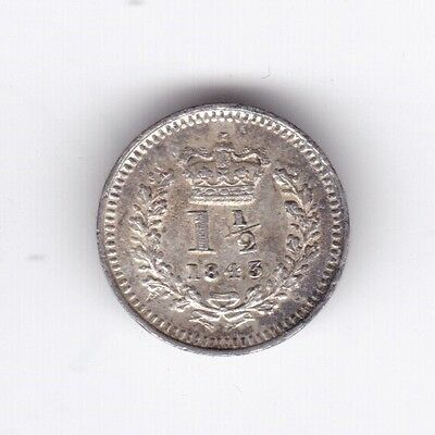 1843 Victoria Threehalfpence***Collectors***UNC***