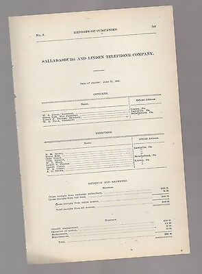 1906 annual report SALLADASBURG & LINDEN TELEPHONE CO. Lycoming PA Pennsylvania
