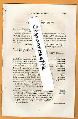 1866 Pennsylvania RR report PHILADELPHIA & TRENTON RAILROAD Pa Nj train