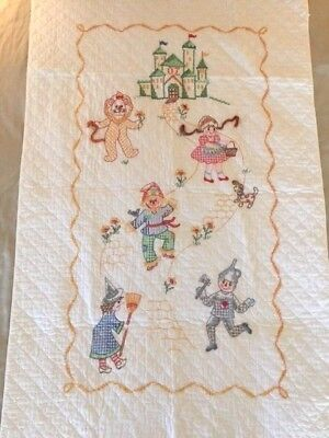 Wizard of Oz Embroidered Wall Hanging or Quilt Vintage Handmade 56  X 35