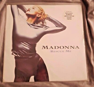 MADONNA RESCUE ME SEALED UK 12'' MAXI SINGLE w/ POSTER & HYPE STICKER LIMITED