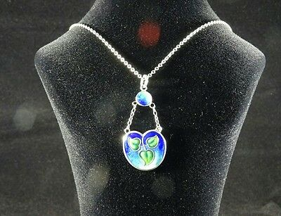 Edwardian Art Nouveau Solid Silver & Enamelled Pendant and Chain, American?