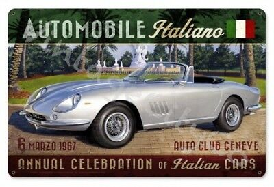 """ Automobile Italiano "" Greg Hildebrandt Art Metal Sign Garage Decor"