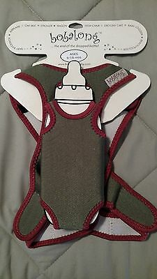 Bobalong Baby Bottle Holder Harness Pacifier Olive Rust NEW