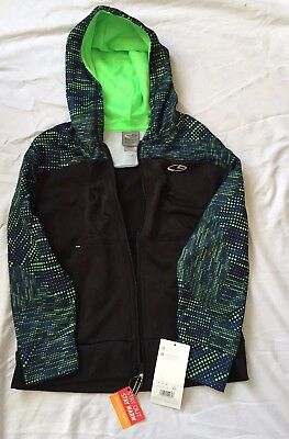 NWT Champion Boys' Duo Dry Full-Zip Black and Green Speckled Hoodie Size S (6-7)