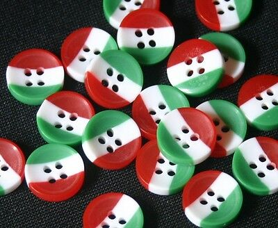 20 Red White Green Stripe Resin Buttons-13mm- Sewing,Craft,Scrapbooking,Quilting